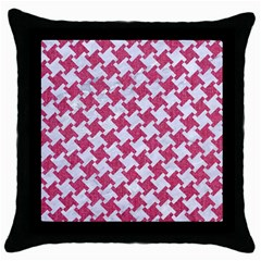 Houndstooth2 White Marble & Pink Denim Throw Pillow Case (black)