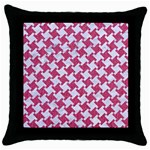 HOUNDSTOOTH2 WHITE MARBLE & PINK DENIM Throw Pillow Case (Black) Front
