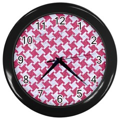 HOUNDSTOOTH2 WHITE MARBLE & PINK DENIM Wall Clocks (Black)