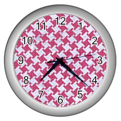 HOUNDSTOOTH2 WHITE MARBLE & PINK DENIM Wall Clocks (Silver)
