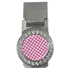 Houndstooth2 White Marble & Pink Denim Money Clips (cz)