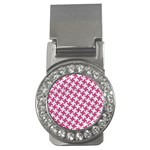 HOUNDSTOOTH2 WHITE MARBLE & PINK DENIM Money Clips (CZ)  Front