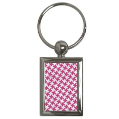 HOUNDSTOOTH2 WHITE MARBLE & PINK DENIM Key Chains (Rectangle)