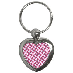 HOUNDSTOOTH2 WHITE MARBLE & PINK DENIM Key Chains (Heart)