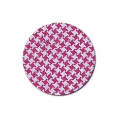 HOUNDSTOOTH2 WHITE MARBLE & PINK DENIM Rubber Round Coaster (4 pack)