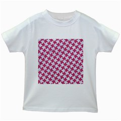 HOUNDSTOOTH2 WHITE MARBLE & PINK DENIM Kids White T-Shirts