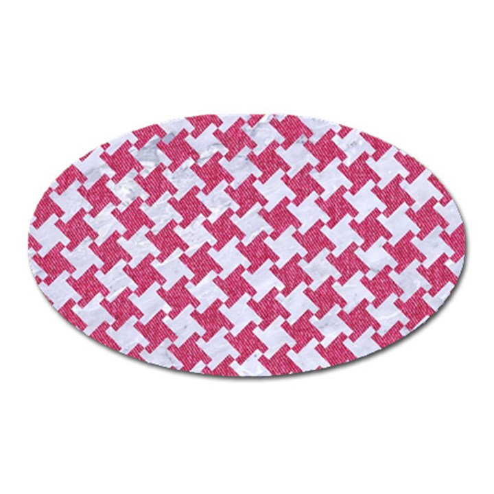 HOUNDSTOOTH2 WHITE MARBLE & PINK DENIM Oval Magnet