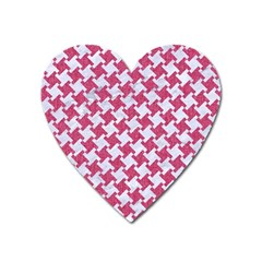 HOUNDSTOOTH2 WHITE MARBLE & PINK DENIM Heart Magnet