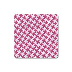 HOUNDSTOOTH2 WHITE MARBLE & PINK DENIM Square Magnet Front