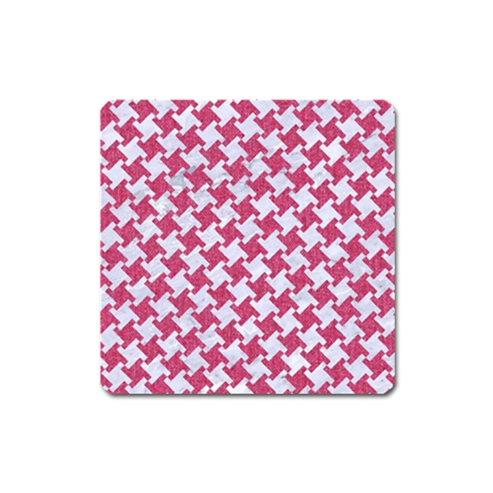 HOUNDSTOOTH2 WHITE MARBLE & PINK DENIM Square Magnet