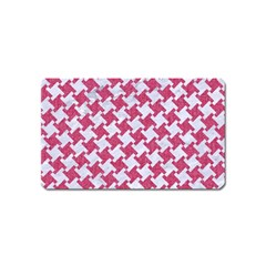 HOUNDSTOOTH2 WHITE MARBLE & PINK DENIM Magnet (Name Card)