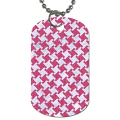 Houndstooth2 White Marble & Pink Denim Dog Tag (one Side)