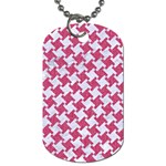 HOUNDSTOOTH2 WHITE MARBLE & PINK DENIM Dog Tag (One Side) Front