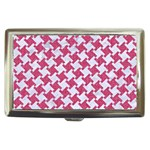 HOUNDSTOOTH2 WHITE MARBLE & PINK DENIM Cigarette Money Cases Front