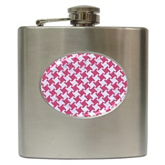 HOUNDSTOOTH2 WHITE MARBLE & PINK DENIM Hip Flask (6 oz)