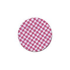 HOUNDSTOOTH2 WHITE MARBLE & PINK DENIM Golf Ball Marker (4 pack)