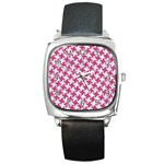 HOUNDSTOOTH2 WHITE MARBLE & PINK DENIM Square Metal Watch Front