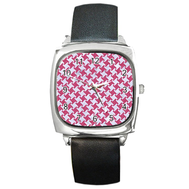 HOUNDSTOOTH2 WHITE MARBLE & PINK DENIM Square Metal Watch