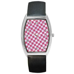 HOUNDSTOOTH2 WHITE MARBLE & PINK DENIM Barrel Style Metal Watch
