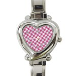 HOUNDSTOOTH2 WHITE MARBLE & PINK DENIM Heart Italian Charm Watch Front