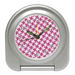 HOUNDSTOOTH2 WHITE MARBLE & PINK DENIM Travel Alarm Clocks Front