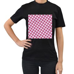 HOUNDSTOOTH2 WHITE MARBLE & PINK DENIM Women s T-Shirt (Black) (Two Sided)