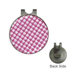HOUNDSTOOTH2 WHITE MARBLE & PINK DENIM Hat Clips with Golf Markers