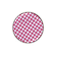 HOUNDSTOOTH2 WHITE MARBLE & PINK DENIM Hat Clip Ball Marker (4 pack)
