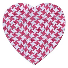 HOUNDSTOOTH2 WHITE MARBLE & PINK DENIM Jigsaw Puzzle (Heart)
