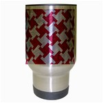 HOUNDSTOOTH2 WHITE MARBLE & PINK DENIM Travel Mug (Silver Gray) Center