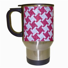 HOUNDSTOOTH2 WHITE MARBLE & PINK DENIM Travel Mugs (White)
