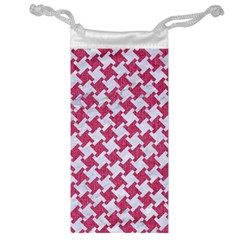 Houndstooth2 White Marble & Pink Denim Jewelry Bags