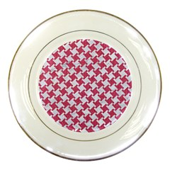 Houndstooth2 White Marble & Pink Denim Porcelain Plates by trendistuff