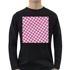 HOUNDSTOOTH2 WHITE MARBLE & PINK DENIM Long Sleeve Dark T-Shirts