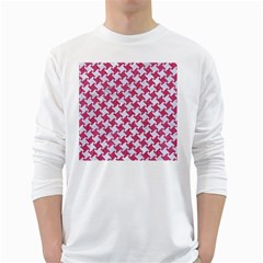 HOUNDSTOOTH2 WHITE MARBLE & PINK DENIM White Long Sleeve T-Shirts