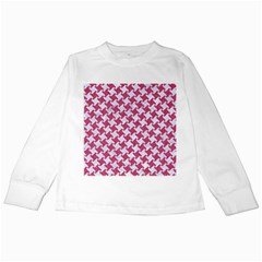 Houndstooth2 White Marble & Pink Denim Kids Long Sleeve T Shirts