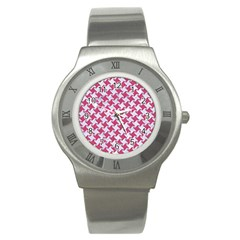 HOUNDSTOOTH2 WHITE MARBLE & PINK DENIM Stainless Steel Watch