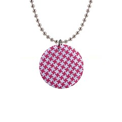 HOUNDSTOOTH2 WHITE MARBLE & PINK DENIM Button Necklaces