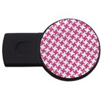 HOUNDSTOOTH2 WHITE MARBLE & PINK DENIM USB Flash Drive Round (4 GB) Front