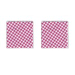 HOUNDSTOOTH2 WHITE MARBLE & PINK DENIM Cufflinks (Square) Front(Pair)