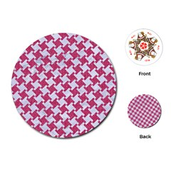 Houndstooth2 White Marble & Pink Denim Playing Cards (round)