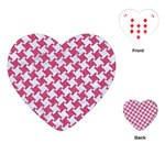 HOUNDSTOOTH2 WHITE MARBLE & PINK DENIM Playing Cards (Heart)  Front