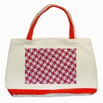 HOUNDSTOOTH2 WHITE MARBLE & PINK DENIM Classic Tote Bag (Red) Front