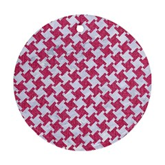 Houndstooth2 White Marble & Pink Denim Round Ornament (two Sides)