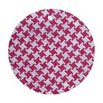 HOUNDSTOOTH2 WHITE MARBLE & PINK DENIM Round Ornament (Two Sides) Back