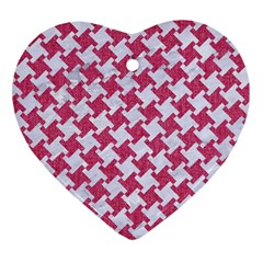 Houndstooth2 White Marble & Pink Denim Heart Ornament (two Sides) by trendistuff
