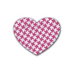 Houndstooth2 White Marble & Pink Denim Heart Coaster (4 Pack)