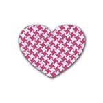 HOUNDSTOOTH2 WHITE MARBLE & PINK DENIM Heart Coaster (4 pack)  Front