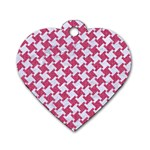 HOUNDSTOOTH2 WHITE MARBLE & PINK DENIM Dog Tag Heart (One Side) Front