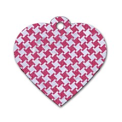 Houndstooth2 White Marble & Pink Denim Dog Tag Heart (two Sides) by trendistuff